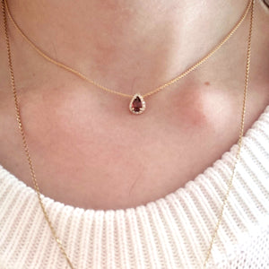 garnet choker with halo