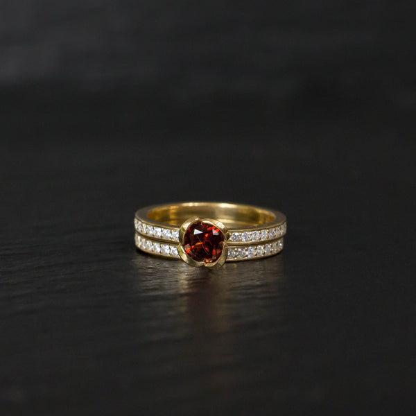 garnet engagement ring with diamond wedding band