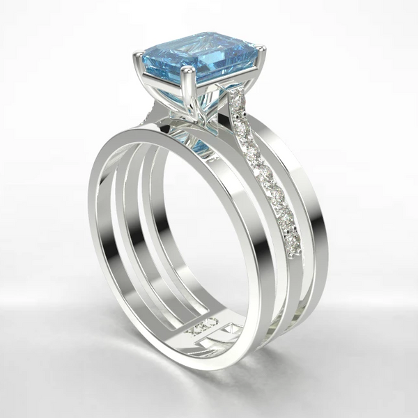 Aquamarine and diamond engagement ring