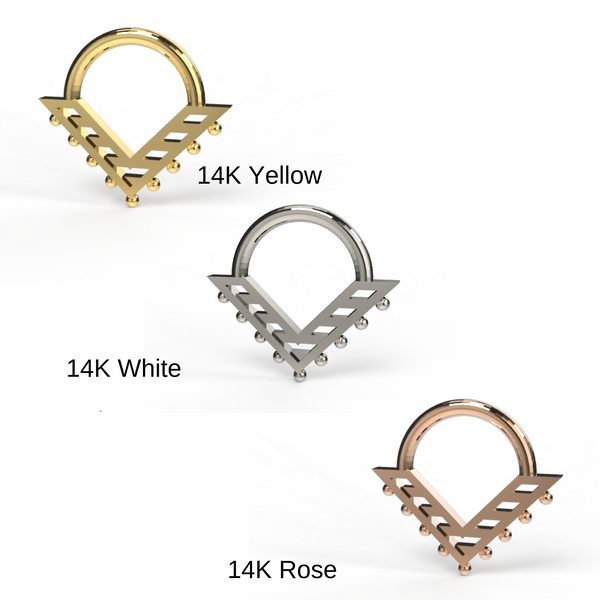 bohemian septum clickers in yellow, white, rose gold