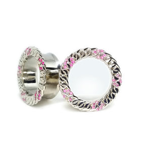 White gold plated plugs with pink sapphires