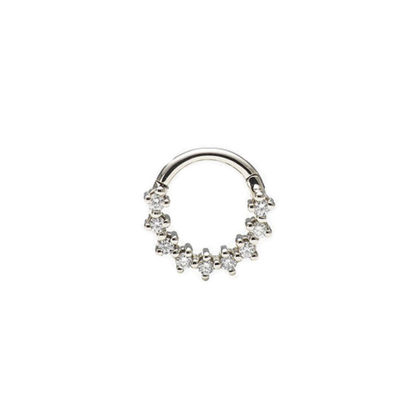 A white gold septum clicker with diamonds