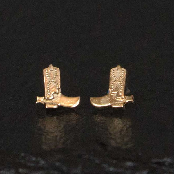 cowboy boot stud earrings in gold western