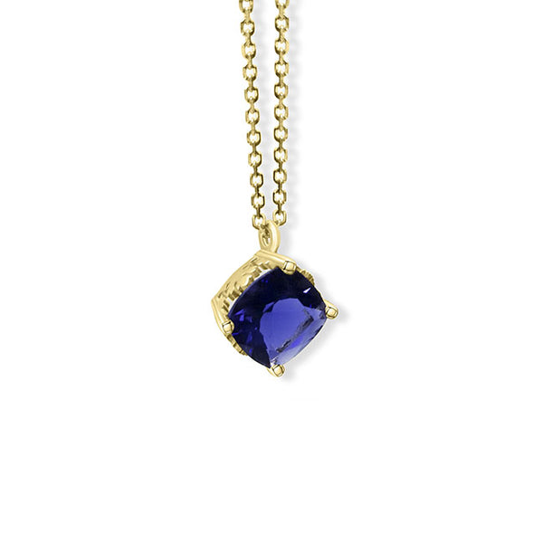 A iolite cushion cut necklace in gold