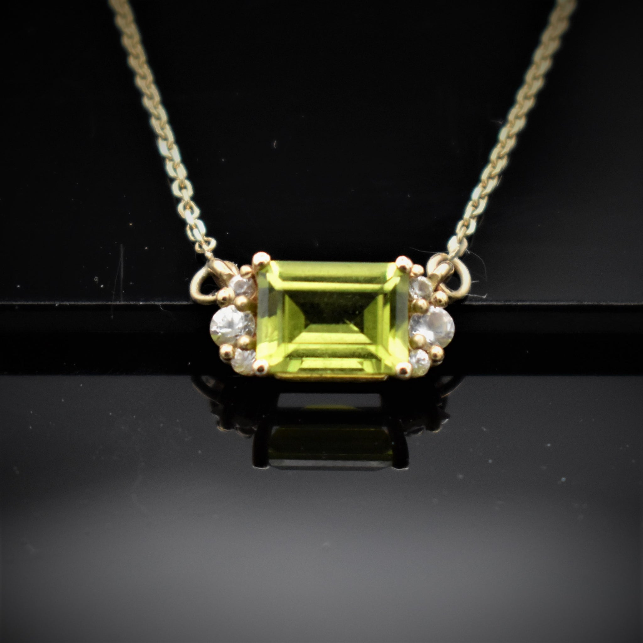 Emerald cut necklace in peridot