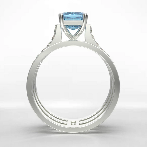 modern engagement ring with aquamarine