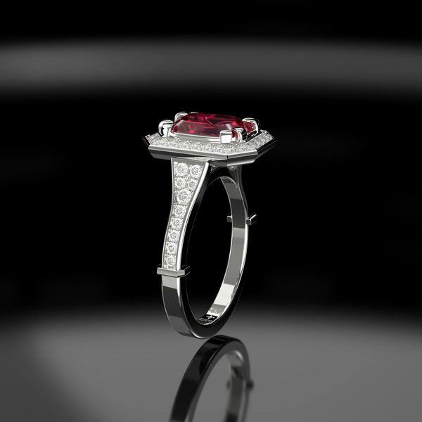emerald cut pink sapphire engagement ring with diamond halo