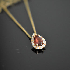 garnet choker necklace pear cut