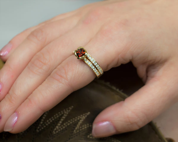 garnet engagement ring with diamond wedding band yellow gold