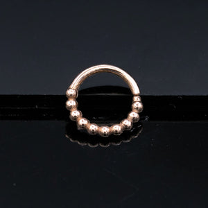 simple gold beaded septum ring