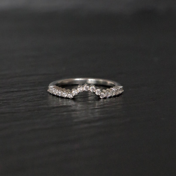 Morph white gold wedding band with diamonds
