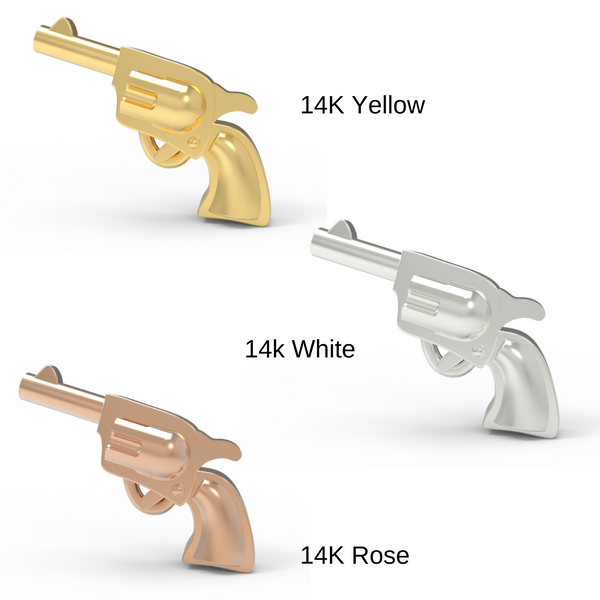 pistol stud earrings in 14k yellow, white and rose gold