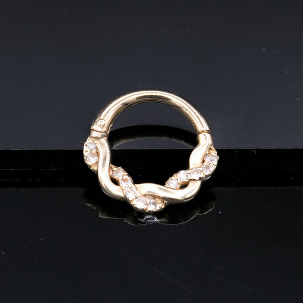 twisted diamond septum clicker in gold