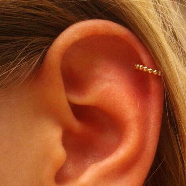 rose gold helix ring as ear jewelry
