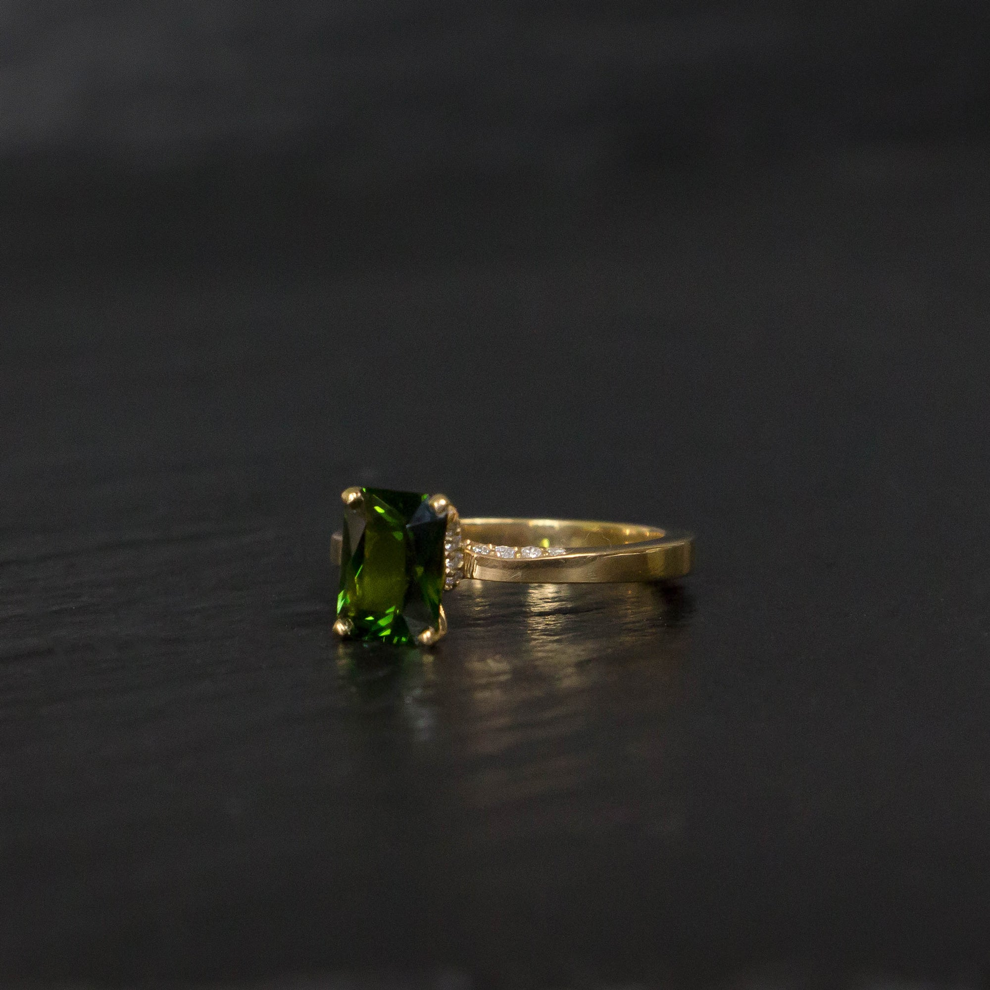 Green tourmaline engagement ring n yellow gold with diamonds