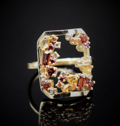 cluster ring garnet and citrine thin band gold