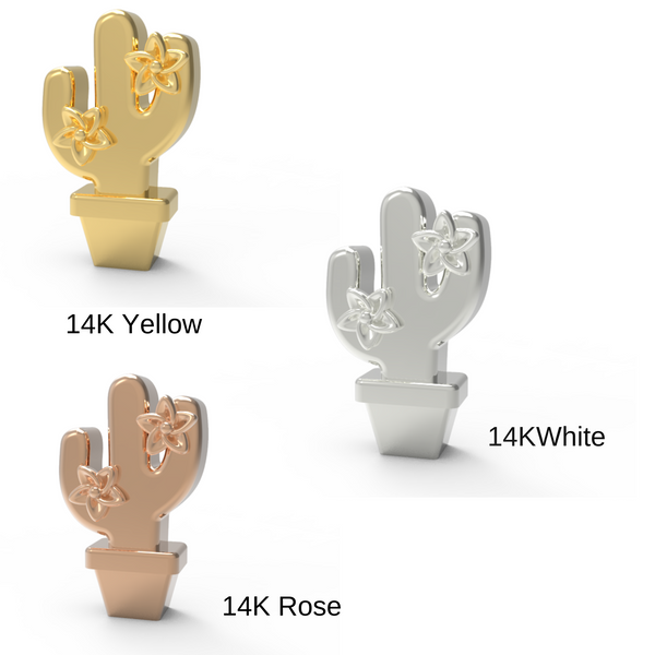 Gold cactus stud earrings in yellow, white and rose gold 14K