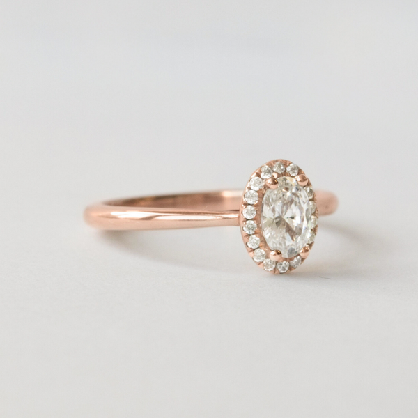rose gold and diamond halo ring