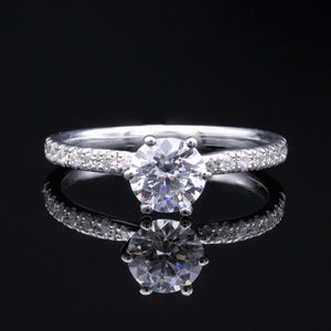 1ct diamond solitaire engagement ring diamond pave