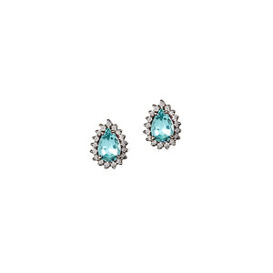 Aquamarine pear shaped earrings with diamonds