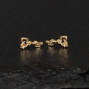floral key stud earrings in yellow gold