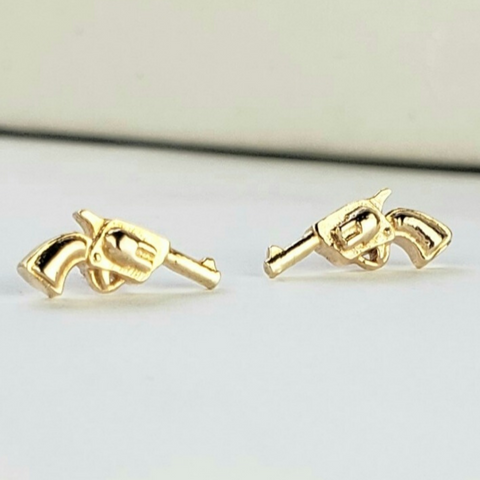 gold gun earrings