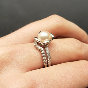 Pearl Engagement Ring with Diamonds in White Gold