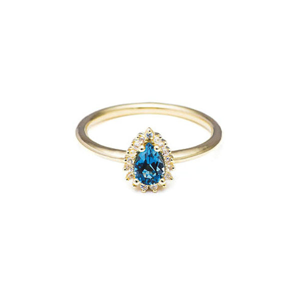 Pear shaped ring with diamonds and aquamarine