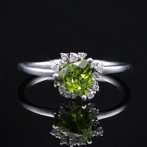 peridot cluster ring with diamonds thin gold band