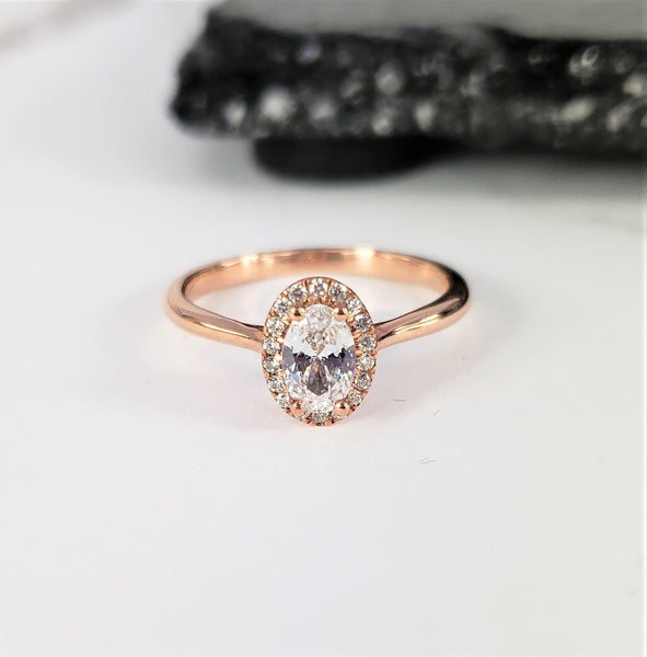 oval diamond engagement ring rose gold