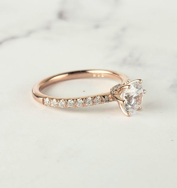 6 prong rose gold engagement ring