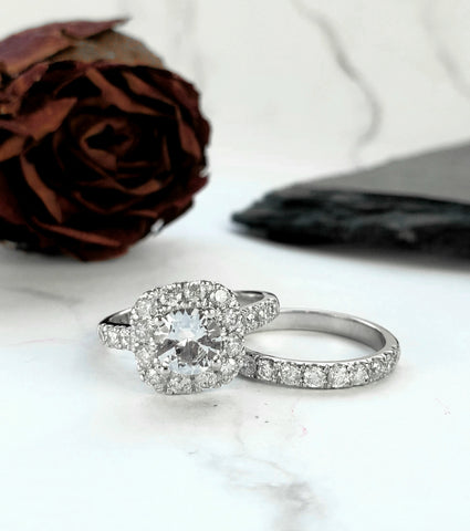 white sapphire halo engagement ring white gold