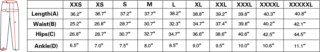 Low Rise Leggings Size Chart