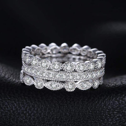 Image of 3 Pieces Cubic Zirconia Stackable Eternity Band Ring Set 925 Sterling Silver-JP_RINGS-JEFAMO
