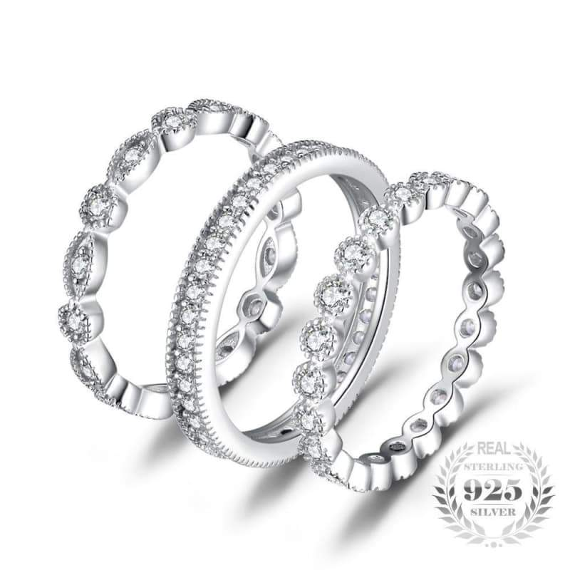 3 Pieces Cubic Zirconia Stackable Eternity Band Ring Set 925 Sterling Silver-JP_RINGS-JEFAMO