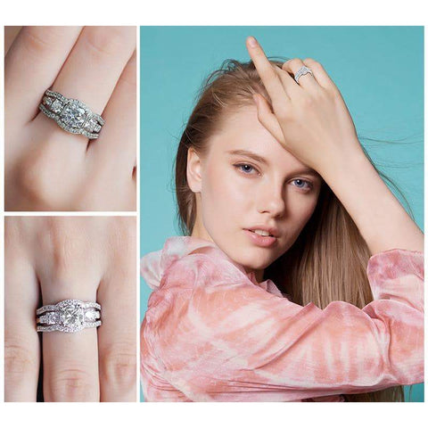 Image of 3 Pieces Solitaire Band Ring Set 925 Sterling Silver-JP_RINGS-JEFAMO