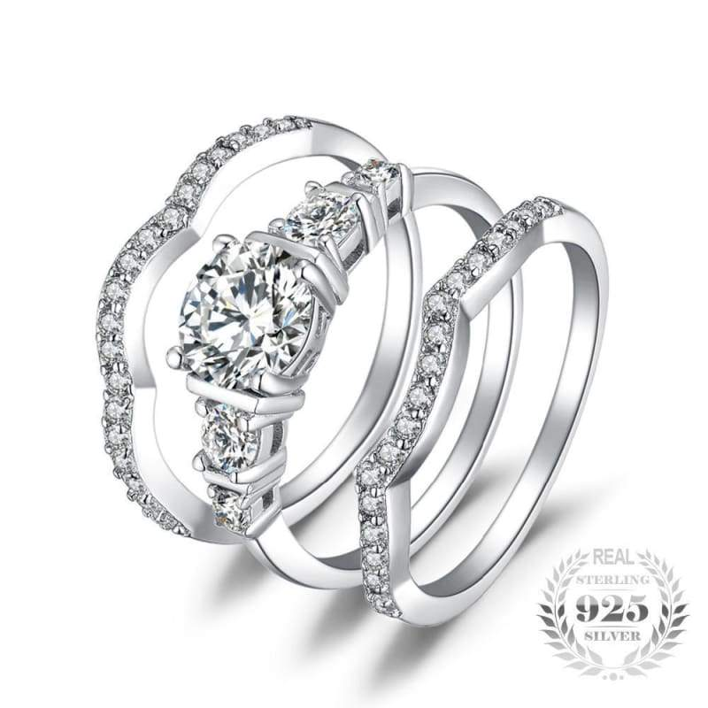 3 Pieces Solitaire Band Ring Set 925 Sterling Silver-JP_RINGS-JEFAMO