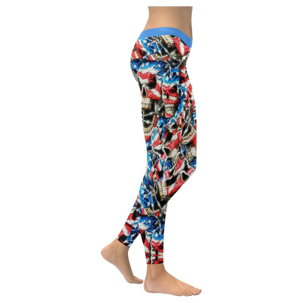 American Barbwire Skulls All-Over Low Rise Leggings-Leggings-JEFAMO