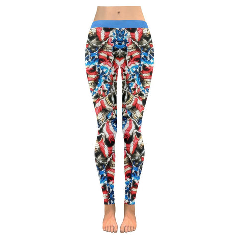 Image of American Barbwire Skulls All-Over Low Rise Leggings-Leggings-JEFAMO