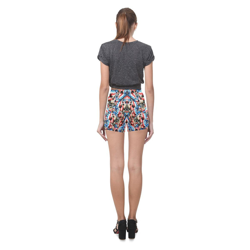American Barbwire Skulls All-Over Skinny Shorts-Leggings-JEFAMO