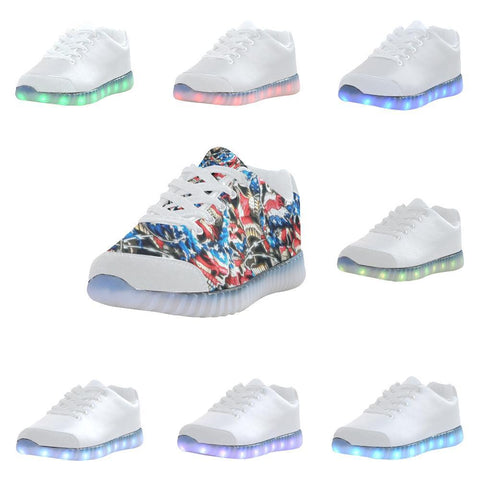 American Barbwire Skulls Light Up Casual Women's Shoes-Light Up Shoes-JEFAMO