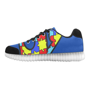 Autism Design 16 Light Up Casual Men's Shoes