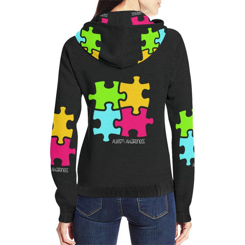 Autism Design 9 Women's All Over Print Full Zip Hoodie-Hoodies-JEFAMO