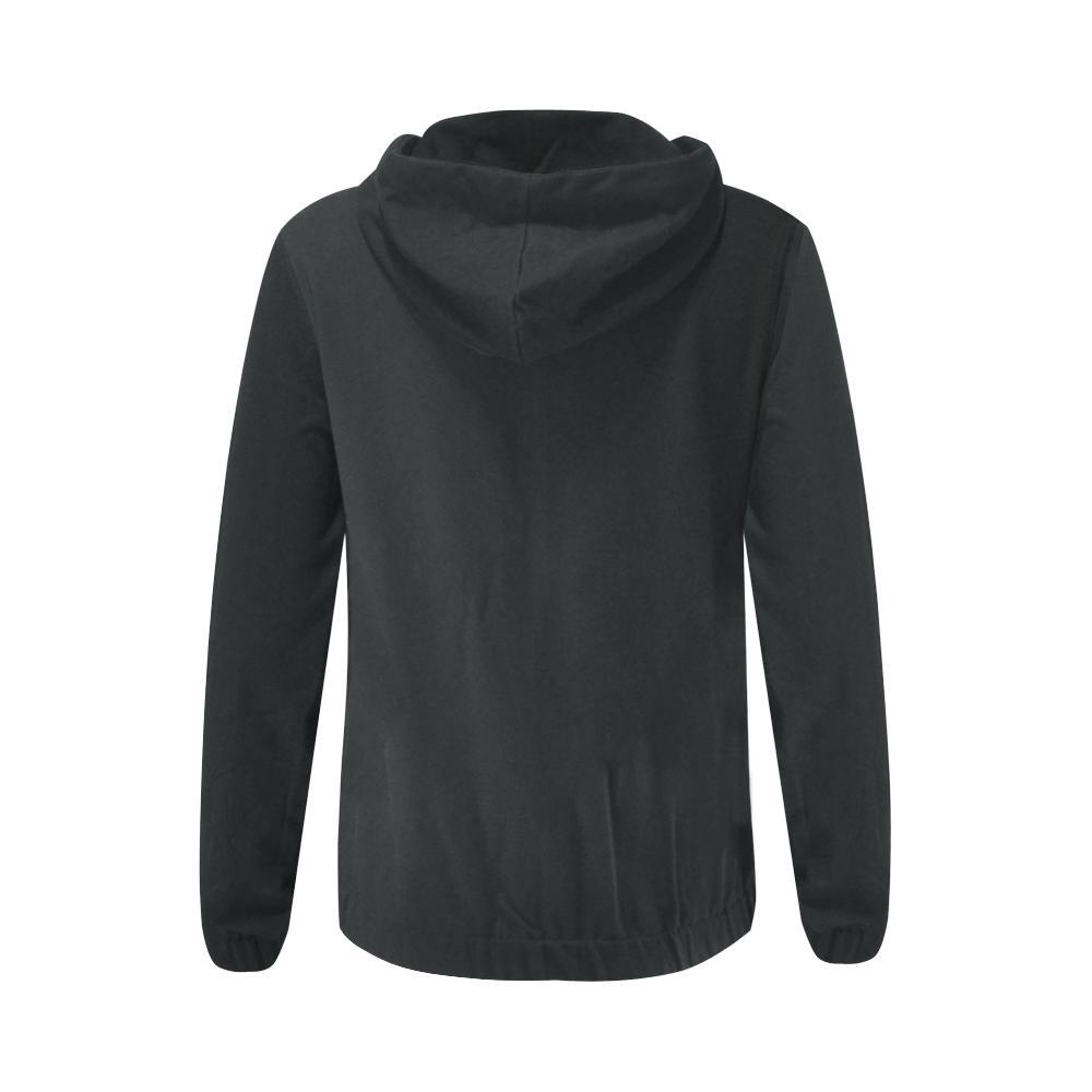 Black Design 1 Women's All Over Print Full Zip Hoodie-Hoodies-JEFAMO