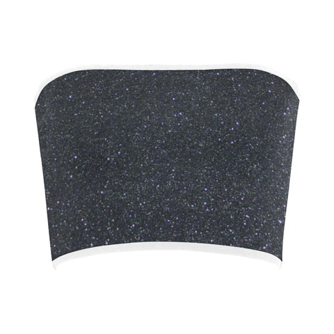 Image of Black Glitter Bandeau Top-Tank Tops-JEFAMO