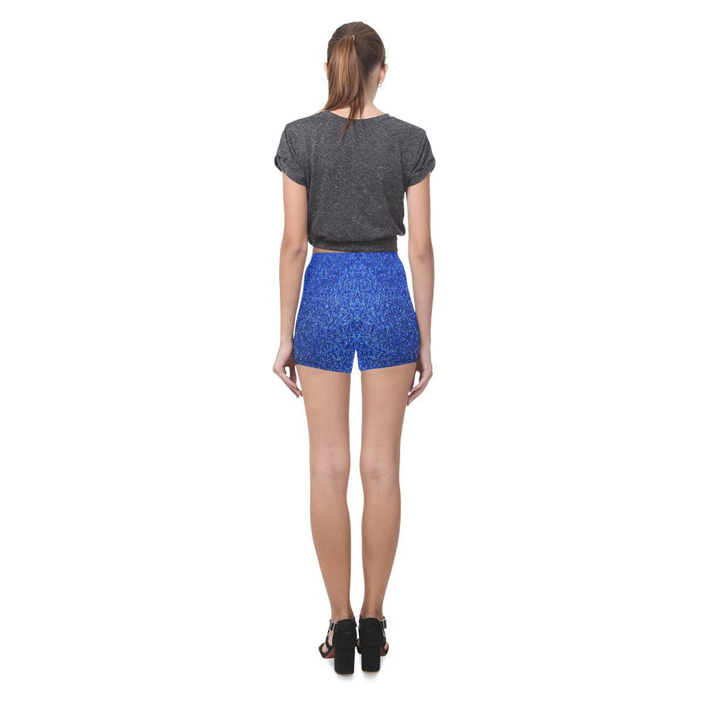 Blue Glitter All-Over Skinny Shorts-Leggings-JEFAMO