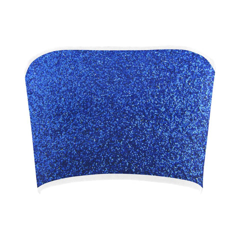 Image of Blue Glitter Bandeau Top-Tank Tops-JEFAMO