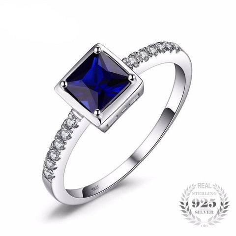 Image of Blue Sapphire Solitaire Ring 925 Sterling Silver-JP_RINGS-JEFAMO