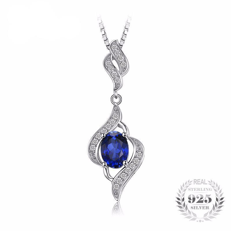 Blue sapphire statement pendant necklace 925 sterling silver fine click to zoom aloadofball Images