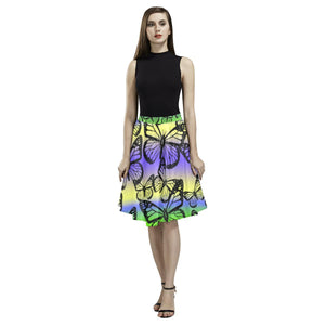 Butterfly Design 1 Women's Pleated Midi Skirt-Skirts-JEFAMO